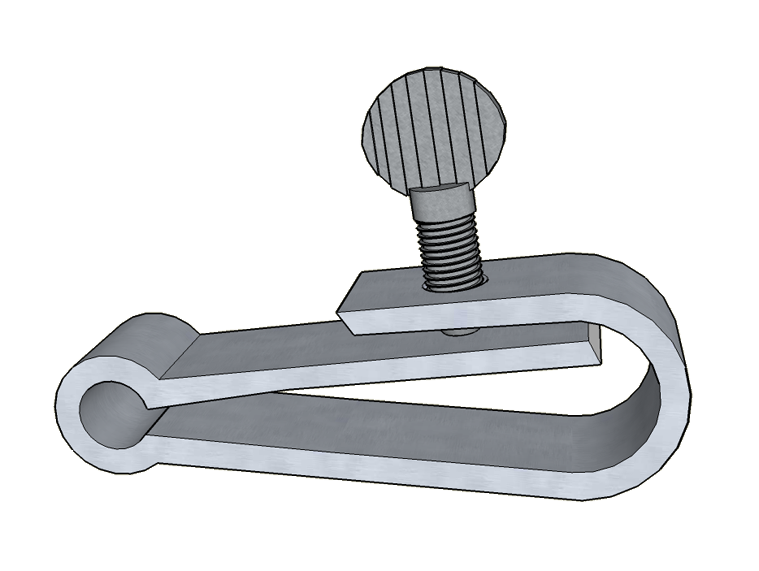 My concept for a 2-piece metal Hoffman clamp involves a thick spring snap hook with the springy member compressed against the tubing by a thumbscrew threaded through the hook.