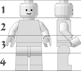 A standard LEGO minifig shown in front and right-side views; horizontal lines have been imposed to show its height in heads.