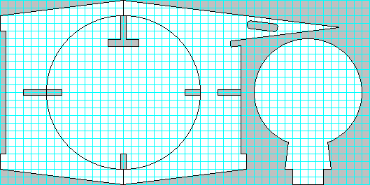 Plan for an alternate puzzle chair with a circular back.  The cutting is more complex, and generates more waste, but the end result, it is hoped, will be more aestheticaly pleasing. As before, this drawing is on a 1 in. grid.
