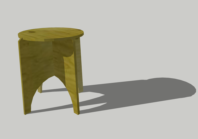 SketchUp model of the FPF flip-top game table in plywood.