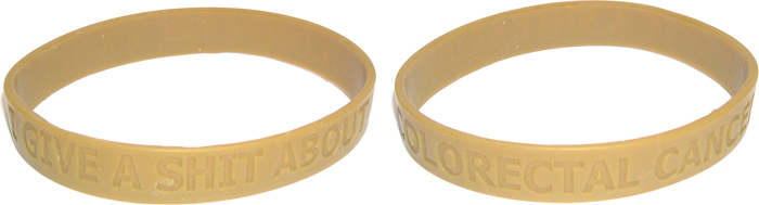 Brown rubber awareness bracelet with all-around slogan I GIVE A SHIT ABOUT COLORECTAL CANCER.