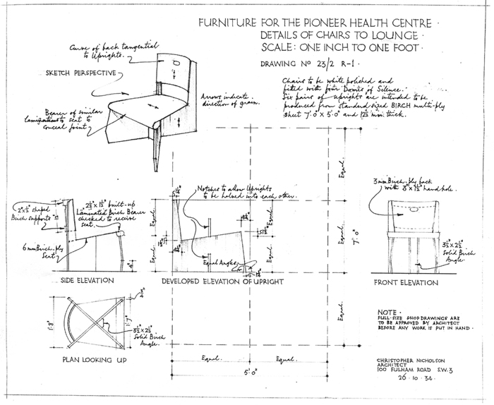 The original plan of the standard chair.