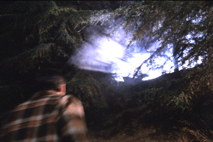Agent Cooper spies a mysterious light from beyond a wooded hill the night Major Briggs is abducted.