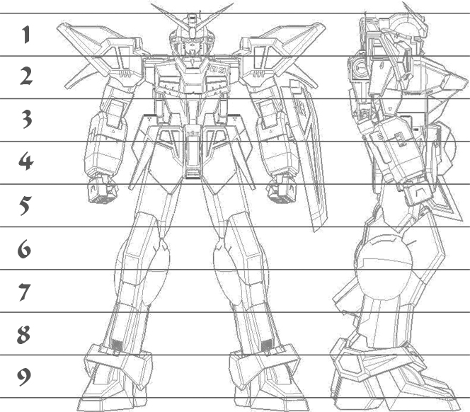 A Gundam-style mecha shown in front and right side views with superimposed lines showing height in heads of about 9.5.