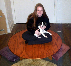 My ex-girlfriend Mel and her pup, Nikita, showing off puzzle table prototype #1.