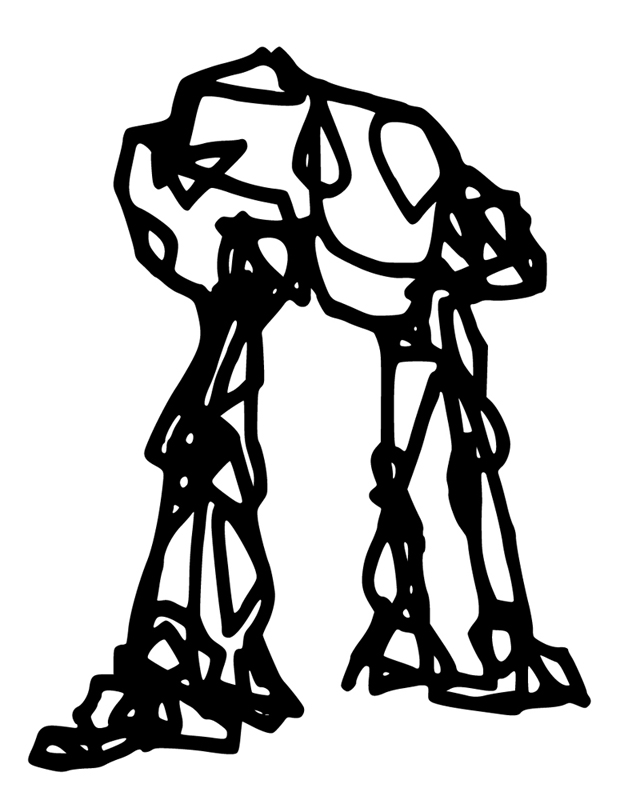A scribble that suggests a mecha shape. Some people see two legs, some four.