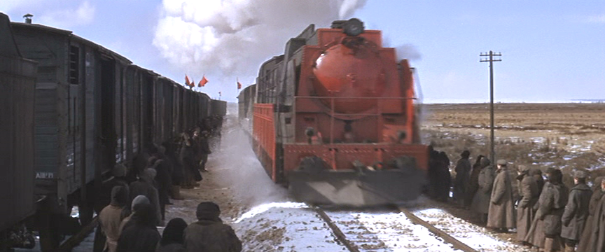 Front view of Strelnikov's train as it approaches.
