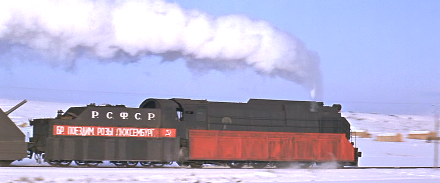 Side view of Strelnikov's train as it passes.