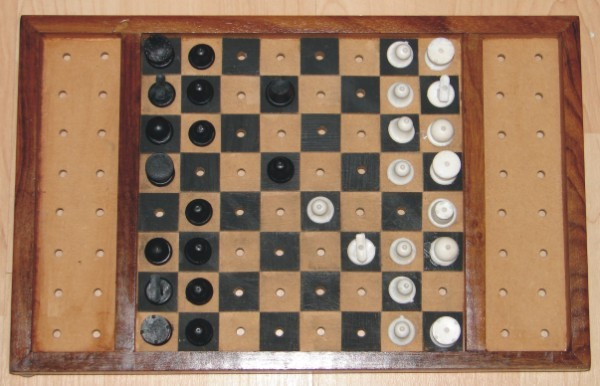 Top-down view of tactile chess set showing various affordances for the blind.